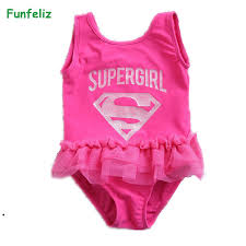 2019 <b>Funfeliz</b> Children <b>Swimwear</b> Pink Supergirl One Piece ...