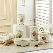 Decorative Bathroom Accessories Sets Fancy Romantic Colorful Flowers Print Decorative Ivory Porcelain 23