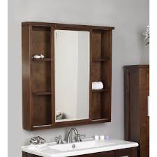 stylish wooden bathroom mirror with cabinet