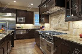 Kitchen Granite Counter Top Luxury Kitchen With Granite Countertops Stock Photo Picture And