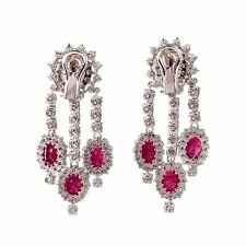 ruby diamond gold chandelier earrings in excellent condition for in miami fl