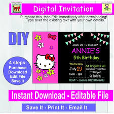 Hello Kitty Invitation Hello Kitty Invitation Editable Party Invitation Digital Invitation Invite Editable Download Digital File Editable Pdf