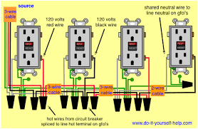 wiring diagrams multiple receptacle outlets do it yourself help com 3 Phase Breaker Panel Wiring wiring diagram gfci receptacles here gfci's are wired to a double pole circuit breaker