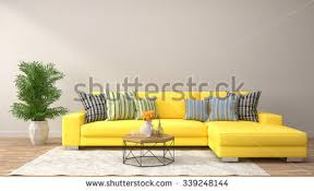 yellow furniture. Interior With Yellow Sofa. 3d Illustration Furniture