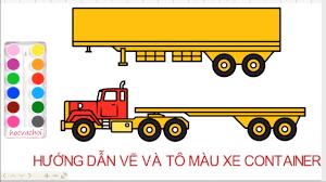 vẽ xe container / Hướng dẫn bé vẽ và tô màu xe ô tô - YouTube