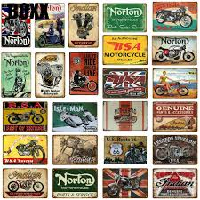Buy online wall decor paintings designs choose from unique designs of wall plates, wall mirrors, wall arts, sculptures and other. 2021 Retro Bsa Motorcycles Metal Plate Norton Indian Tin Signs Vintage Metal Poster Garage Decor Club Pub Bar Wall Decoration From Boxx 1 21 Dhgate Com