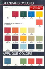 1987 Colors Color Charts Old International Truck Parts