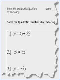 quadratic equations quadratic equation worksheets printable pdf from solving quadratics by factoring worksheet