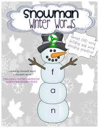 Chart On Winter Season Winter Snowman Cvc Word Building Activity And Pocket Chart