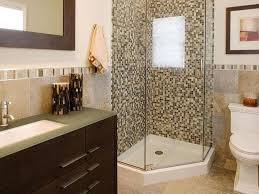 shower with glass doors in small bathroom