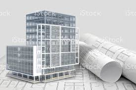 Construction Architecture Blueprint With Office Building Exterior