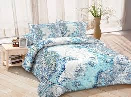 blue cotton ancient world map bedding