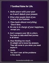 Lessons Learned In Life40 Cardinal Rules For Life Lessons Learned Adorable 7 Rules Of Life Quote