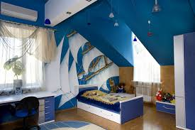 Kids Bedroom For Boys Bedroom Boy Kids Bedroom With Blue Sloped Ceiling And Small Blue