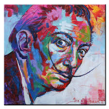 xh356 salvador dali graffiti pop art oil painting face portrait print wall painting for living room acrylic painting lessonsacrylic