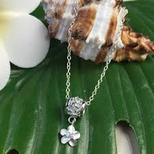 pendant necklace frangipani silver barrel with the hawaiian jewelry silver chain
