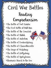 Major Battles Of The Civil War Chart Major Civil War Battles Reading Comprehension Bundle