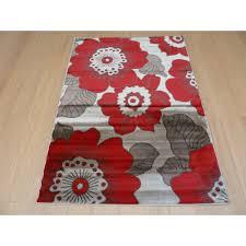 sincerity modern blossom red rug