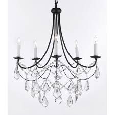 versailles 5 light black iron chandelier with crystal