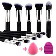 amazon beakey makeup brush set premium synthetic kabuki foundation face powder blush eyeshadow brushes makeup brush kit with blender sponge and brush
