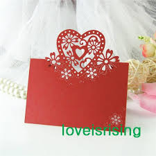 Lowest Price Red Color Laser Cut Place Cards Wedding Name Cards For Wedding Party Table Decoration Supply Party Tea Party Decorations From