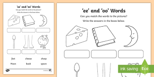 A set of 4 worksheets on the oo sound that can be used for classwork or homework. Ee And Oo Sounds Matching Activity Teacher Made