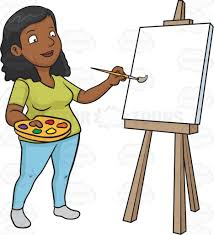 a black woman painting on a blank canvas