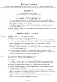 resumes for models sample resume for someone seeking a job in investment banking with a