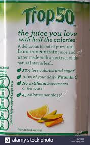 trop50 the juice you love with half the calories information on label of tropicana trop50