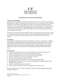Receptionist Job Resume Objective Secretary Resume Objectives Sample Job And Template Medical 100