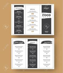 Tri Fold Menu Template White Menu Template With Black Grunge Elements For Cafes And