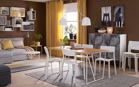 decorating with ikea furniture. A Medium-sized Dining Room Furnished With Table In Bamboo White Legs Decorating Ikea Furniture