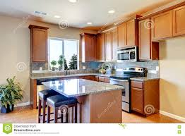 American Kitchen Typical American Kitchen Interior With Wooden Storage Combination