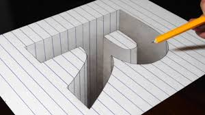 drawing a r hole in line paper 3d trick art optical illusion