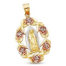 14k yellow white rose gold virgin mary rose pendant guadalupe medallion charm