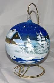 Hand Decorated Christmas Balls Winter Wonderland Ornament Winter Trees And Snow Teal Bulb 88