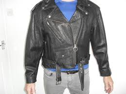 uni vintage black leather biker jacket size s m excellent condition