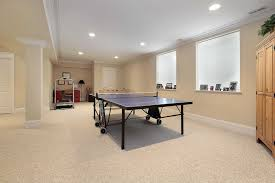 Modern Basement Remodel Design For Gym Room With White Interior Color Decor  And Floor With Rug Plus Indoor Ping Pong Table Plus Old And Vintage Table  With ...