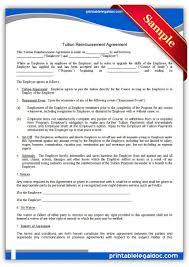Printable Tuition Reimbursement Agreement Template Printable Legal