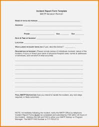 Sample Incident Report Format Template School Accident Form Security