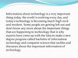 bachelor of science in information technology benefits and advantag  3 information about technology