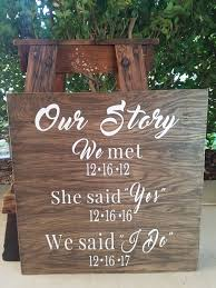 our story wood sign rustic love sign custom wedding sign rustic wedding signs