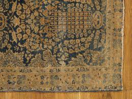 hand knotted antique persian lavar kerman runner handmade oriental rug blue and gold