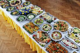 Inspiring Lunch Party Buffet Table With European Cuisine As Well As  Centerpieces Decors And Chrome Plates And Bowl As Food Displays Ideas