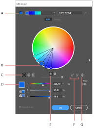 A. Base color as it appears in Harmony Rules menu B. Base color as it  appears in color wheel C. Color display options D. Color of selected color  marker or ...
