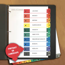 Labeling Binders Deluxe Table Of Contents Dividers For Printers 10 Tab 1 To