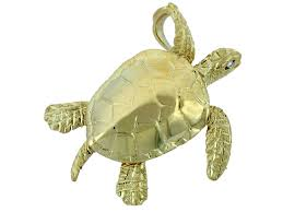 14kt yellow gold 30mm denny wong sea turtle pendant