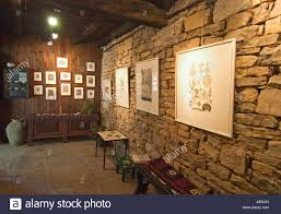 groznjan istria croatia europe art gallery in the artist village in the mountains on stone wall artist with groznjan istria croatia europe art gallery in the artist village in