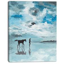 man and horse running on water oil painting print on canvas