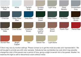 Mueller Metal Buildings Color Chart Cf Panel Mueller Inc Metal Roof Blue Forest Pewter Metal